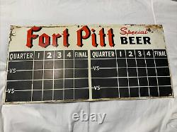 Vintage Original Fort Pitt Beer Scoreboard Tin 2x Sided Sign Football Baseball
