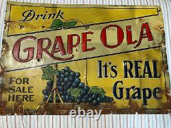 Vintage Original Grapeola Grape Drink Soda Embossed Tin Sign 19.5 x 13.5
