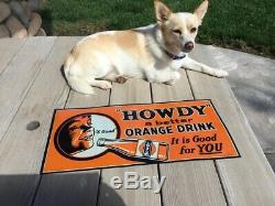 Vintage Original Howdy Orange Drink Soda Pop Embossed Tin Tracker Sign