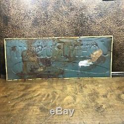Vintage Original JOHN RUSKIN CIGAR 1930s Tin Embossed ADVERTISING TOBACCO SIGN
