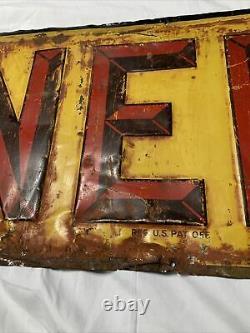 Vintage Original NEHI Soda Pop Tin Tacker Sign 23.75 x 11.75
