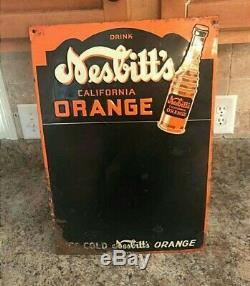 Vintage Original Nesbitt's Orange Soda Tin Chalk Menu Board Embossed Art Deco