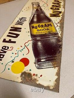 Vintage Original NuGrape Soda Tin Sign Have Fun With NuGrape Rare 30 x 12