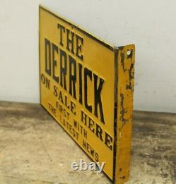 Vintage Original OIL CITY DERRICK Tin Flange Newspaper Sign Pennsylvania PA