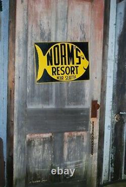 Vintage Original RARE Norm's Resort Near Seattle Tin Sign Survivor