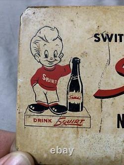 Vintage Original RARE Squirt Boy Soda Rack Topper Tin Sign