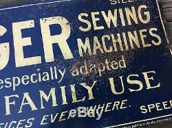 Vintage Original Singer Sewing Machine Dealer Advertising Early Tin Sign