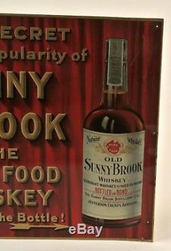 Vintage Original Sunny Brook Pure Food Whiskey Tin Sign Not Porcelain Sign