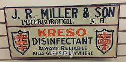 Vintage Original Tin Sign JR Miller & Son KRESO disinfectant Peterborough NH