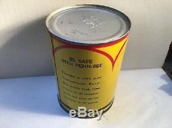 Vintage PENN BEE Oil Quart Can Metal Gas Rare Handy Sign Tin Sunoco Texaco Shell