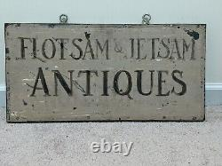 Vintage Painted Tin and Wood FLOATSAM & JETSAM ANTIQUES Sign 24 X 12 X 1.25