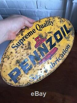Vintage Pennzoil Oil Can Rack Sign 16 X 10 Original Double Sided Tin