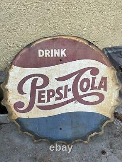Vintage Pepsi Cola Bottle Cap Sign Coke Antique Tin 2 1/2 feet Big