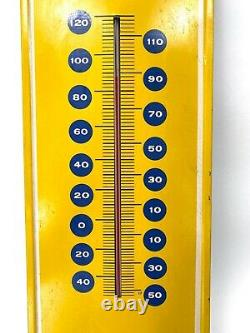 Vintage Pepsi Cola Say Please Tin Advertising thermometer 28 Yellow WORKS Sign