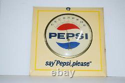Vintage Pepsi Cola Tin Advertising Thermometer Litho Pepsi Please Square Working