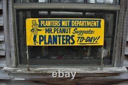 Vintage Planters Mr. Peanut Rare Original Rack Sign, Tin, 23