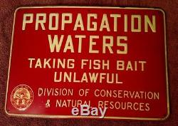 Vintage Propagation Waters Taking Fish Bait Unlawful Ohio Conservation Tin Sign