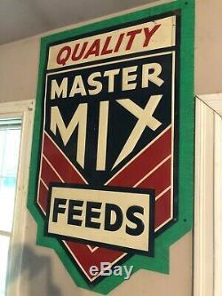 Vintage Quality MASTER MIX FEEDS Feed Tin farm sign 40x28
