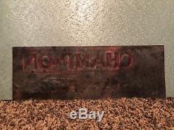 Vintage RARE Champion Spark Plugs Dealer Embossed Tin Sign Gas Oil 15 X 5 1/2
