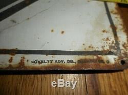 Vintage RARE Go Gas Gasoline Motor Oil Checkerboard Tin Tacker Advertising SIGN