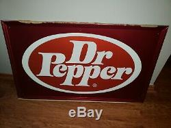 Vintage RARE Tin Dr Pepper Soda Pop Gas Station Metal Sign Advertising Soda Pop