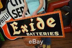 Vintage REAL Exide batteries gas oil tin sign Service Station Garage Advertising