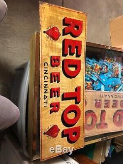 Vintage RED TOP BEER CINCINNATI Embossed Tin Not Porcelain sign circa 40's