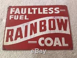 Vintage Rainbow Coal Sign Gas Oil Metal Tin Sign Faultless Fuel Des Moines Iowa