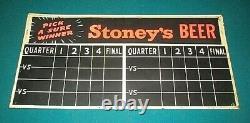 Vintage Rare 1949 Stoney's Beer Score Board Tin 2-sided Sign Football, Baseball