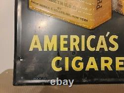 Vintage Rare 1950's Black Call For Philip Morris Tin Sign