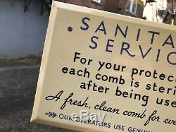 Vintage Rare Deco Minty Tin Over Cardboard Sanitary Service Barbershop Sign