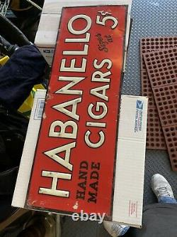 Vintage Rare HABANELLO 5 CENT CIGAR SIGN embossed tin tobacco advertising