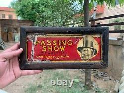 Vintage Rare Hand Crafted Passing Show Cigarettes Tin Sign Board Carving Framed