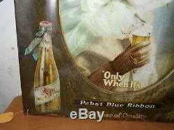Vintage Rare Tin Self Framed Pabst Blue Ribbon Beer Sign Pretty Girl 20 X 24 In