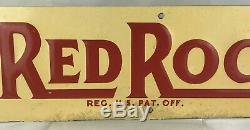 Vintage Red Rock Cola Embossed Metal Tin Sign Soda Stout St Louis Advertising