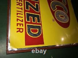 Vintage SACCO Granulized Fertilizer Tin Tacker Metal Sign Farm Guarantee Quality