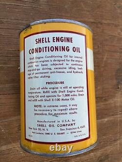 Vintage SHELL Engine Conditioning Motor Oil 1Qt Tin Can Auto Gas Service Station