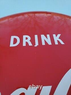 Vintage SST 24 Drink Coca Cola Red Button Coke Soda Tin Not Porcelain Sign #1