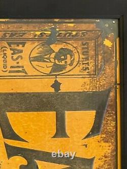 Vintage STUTT'S EAS-IT Liquid for Backache Embossed Tin Advertising Sign, FRAMED