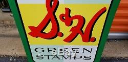 Vintage S&H Green Stamps Gas Station Tin Double sided Sign 29.5x20 D