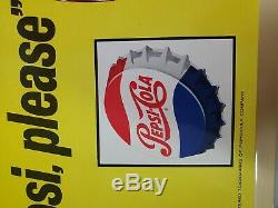 Vintage Say Pepsi Please Pepsi Cola Toc Tin Metal Advertising Soda Pop Sign