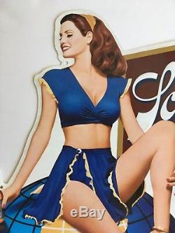 Vintage Schlitz Beer Sign Sexy Pin Up Embossed Tin Advertising 1995