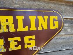 Vintage Seiberling Tires Tin Oil Advertising Sign Original Double Sided 49