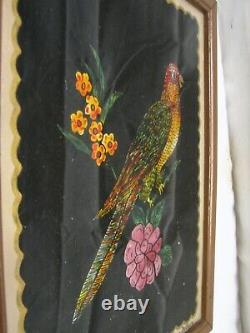 Vintage Signed Tin Foil Folk Art Parrot Reverse Painted Bird Picture Tinsel
