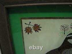Vintage Signed Tin Foil Folk Art Reverse Painted Quail Bird Picture Tinsel