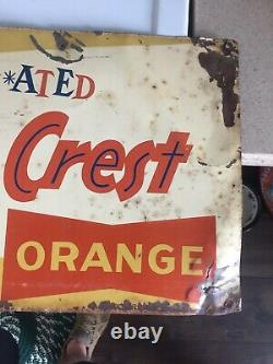 Vintage Soda Pop Embossed Metal Sign, SUN CREST, Get Tin Sulated 12 X 30