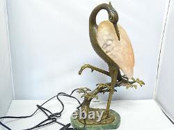 Vintage Solid Bronze Andrea Sadek -Tin Chi Heron Crane Table Lamp Signed