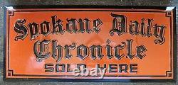 Vintage Spokane Daily Chronicle metal tin Scioto newspaper sign 1940s-60s (a)