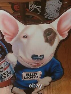 Vintage Spuds Mackenzie Bud Light Beer Metal Tin Wall Sign From 1989