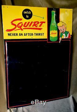 Vintage Squirt Tin Sign Menu Board 1950s